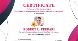 """The impact of social networking sites on business in my country""""- Congratulations to writing competition winner Robert L. Ferrari"""